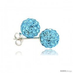 Sterling Silver Aquamarine Crystal Ball Stud Earrings 8mm