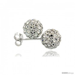 Sterling Silver White Crystal Ball Stud Earrings 8mm