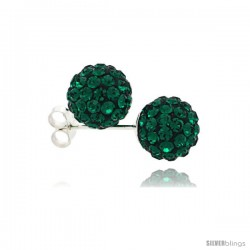 Sterling Silver Emerald Crystal Ball Stud Earrings 8mm