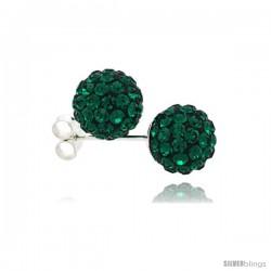 Sterling Silver Emerald Crystal Ball Stud Earrings 8mm