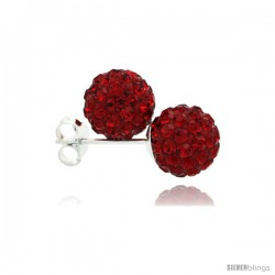 Sterling Silver Ruby Crystal Ball Stud Earrings 8mm