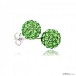 Sterling Silver Peridot Crystal Ball Stud Earrings 8mm