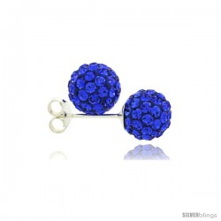 Sterling Silver Sapphire Crystal Ball Stud Earrings 8mm