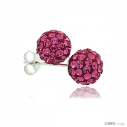 Sterling Silver Pink Tourmaline Crystal Ball Stud Earrings 8mm