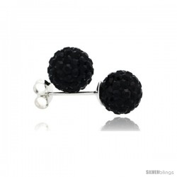 Sterling Silver Black Crystal Ball Stud Earrings 8mm