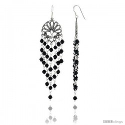 "Sterling Silver Fan-shaped Dangle Chandelier Earrings w/ Black Crystals, 3 1/16"" (79 mm) tall"
