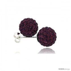 Sterling Silver Amethyst Crystal Ball Stud Earrings 10mm