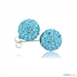 Sterling Silver Aquamarine Crystal Ball Stud Earrings 10mm