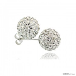Sterling Silver White Crystal Ball Stud Earrings 10mm
