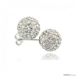 Sterling Silver White Crystal Ball Stud Earrings 10mm