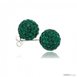 Sterling Silver Emerald Crystal Ball Stud Earrings 10mm