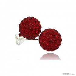 Sterling Silver Ruby Crystal Ball Stud Earrings 10mm