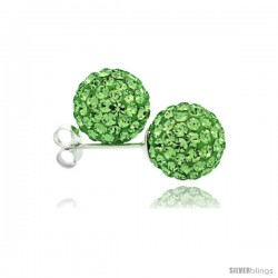 Sterling Silver Peridot Crystal Ball Stud Earrings 10mm