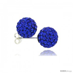 Sterling Silver Sapphire Crystal Ball Stud Earrings 10mm