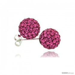 Sterling Silver Pink Tourmaline Crystal Ball Stud Earrings 10mm