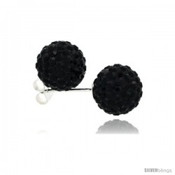 Sterling Silver Black Crystal Ball Stud Earrings 10mm