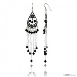 "Sterling Silver Pear-shaped Dangle Chandelier Earrings w/ Black Crystals, 3 5/8"" (92 mm) tall"