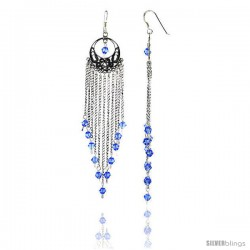 "Sterling Silver Dangle Chandelier Earrings w/ Blue Topaz-colored Crystals, 3 13/16"" (97 mm) tall"