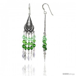 "Sterling Silver Teardrop Dangle Chandelier Earrings w/ Peridot-colored Green Crystals, 2 1/4"" (58 mm) tall"
