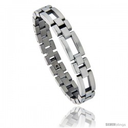 Stainless Steel Polished Watch Band Style Bracelet, 1/2 in wide, 8.25 in