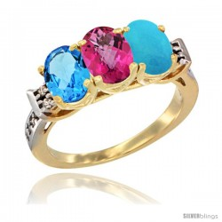10K Yellow Gold Natural Swiss Blue Topaz, Pink Topaz & Turquoise Ring 3-Stone Oval 7x5 mm Diamond Accent
