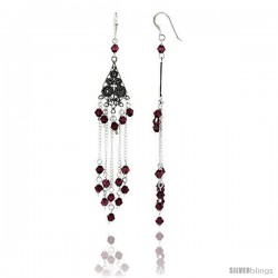 "Sterling Silver Diamond-shaped Dangle Chandelier Earrings w/ Garnet-colored Crystals, 3 3/16"" (81 mm) tall"