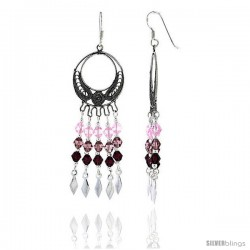 "Sterling Silver Dangle Chandelier Earrings w/ Pink Tourmaline, Rose Pink & Garnet-colored Crystals, 2 3/8"" (60 mm) tall"