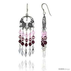 "Sterling Silver Dangle Chandelier Earrings w/ Pink Tourmaline, Rose Pink & Garnet-colored Crystals, 2"" (51 -Style Cce114"