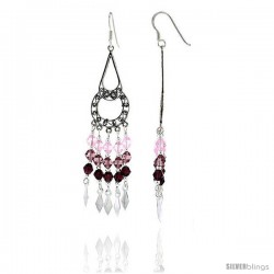 "Sterling Silver Dangle Chandelier Earrings w/ Pink Tourmaline, Rose Pink & Garnet-colored Crystals, 2 1/2"" (64 mm) tall"