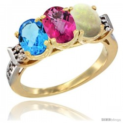 10K Yellow Gold Natural Swiss Blue Topaz, Pink Topaz & Opal Ring 3-Stone Oval 7x5 mm Diamond Accent