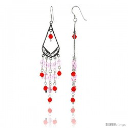 "Sterling Silver Pear-shaped Dangle Chandelier Earrings w/ Pink and Red Crystals, 2 7/8"" (73 mm) tall"