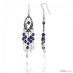"""Sterling Silver Marquise-shaped Dangle Chandelier Earrings w/ Purple Amethyst-colored Crystals, 2 3/8"""" (60 mm) tall"""