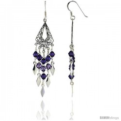 "Sterling Silver Diamond-shaped Dangle Chandelier Earrings w/ Purple Amethyst-colored Crystals, 2 3/16"" (56 mm) tall"