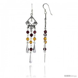 "Sterling Silver Diamond-shaped Dangle Chandelier Earrings w/ Garnet-colored & Yellow Citrine-colored Crystals, 2 3/8"" (60 mm)"