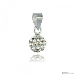 Sterling Silver White Crystal Ball Pendants 6mm