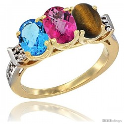 10K Yellow Gold Natural Swiss Blue Topaz, Pink Topaz & Tiger Eye Ring 3-Stone Oval 7x5 mm Diamond Accent