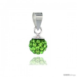 Sterling Silver Peridot Crystal Ball Pendants 6mm