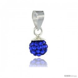 Sterling Silver Sapphire Crystal Ball Pendants 6mm