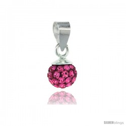 Sterling Silver Pink Tourmaline Crystal Ball Pendants 6mm