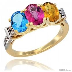 10K Yellow Gold Natural Swiss Blue Topaz, Pink Topaz & Whisky Quartz Ring 3-Stone Oval 7x5 mm Diamond Accent