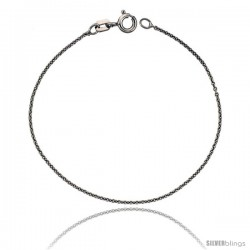 Sterling Silver Classic Italian Cable Chain Necklace RHODIUM FINISHED, Very Thin 0.9mm, Nickel Free