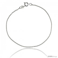 Sterling Silver Classic Italian Cable Chain Necklace RHODIUM FINISHED, 1.1mm thin, Nickel Free