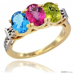 10K Yellow Gold Natural Swiss Blue Topaz, Pink Topaz & Lemon Quartz Ring 3-Stone Oval 7x5 mm Diamond Accent