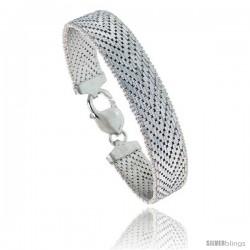 Sterling Silver Italian Riccio Bracelet 15-Row 1/2 in wide