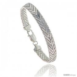 Sterling Silver Italian Riccio Bracelet 9-Row 5/16 in wide