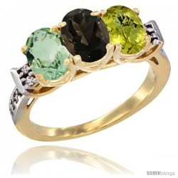 10K Yellow Gold Natural Green Amethyst, Smoky Topaz & Lemon Quartz Ring 3-Stone Oval 7x5 mm Diamond Accent