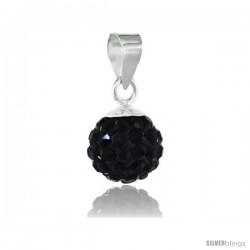 Sterling Silver Black Crystal Ball Pendants 8mm