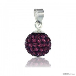 Sterling Silver Amethyst Crystal Ball Pendants 10mm