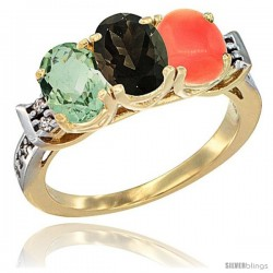 10K Yellow Gold Natural Green Amethyst, Smoky Topaz & Coral Ring 3-Stone Oval 7x5 mm Diamond Accent