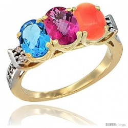 10K Yellow Gold Natural Swiss Blue Topaz, Pink Topaz & Coral Ring 3-Stone Oval 7x5 mm Diamond Accent